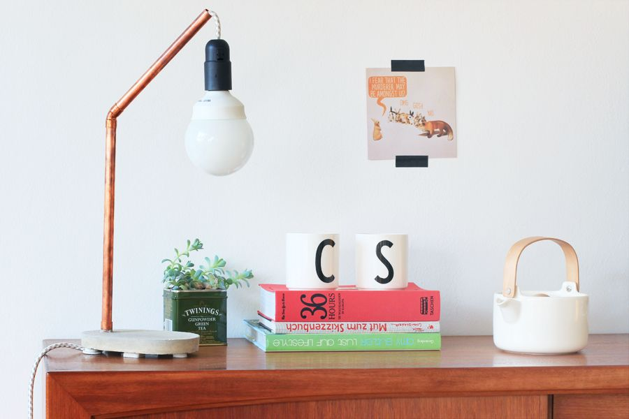 Cooper and concrete lamp _ styling and photography