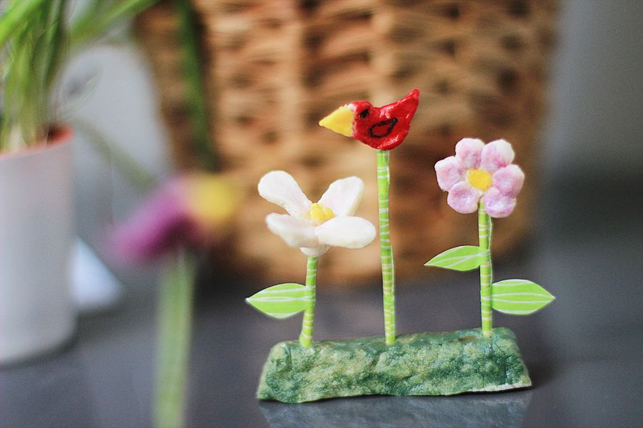 clay-birds-flowers-decoration