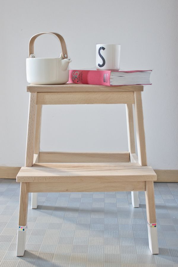 Stool Bedside Table: DIY Ikea Stepping Stool Upgrade.