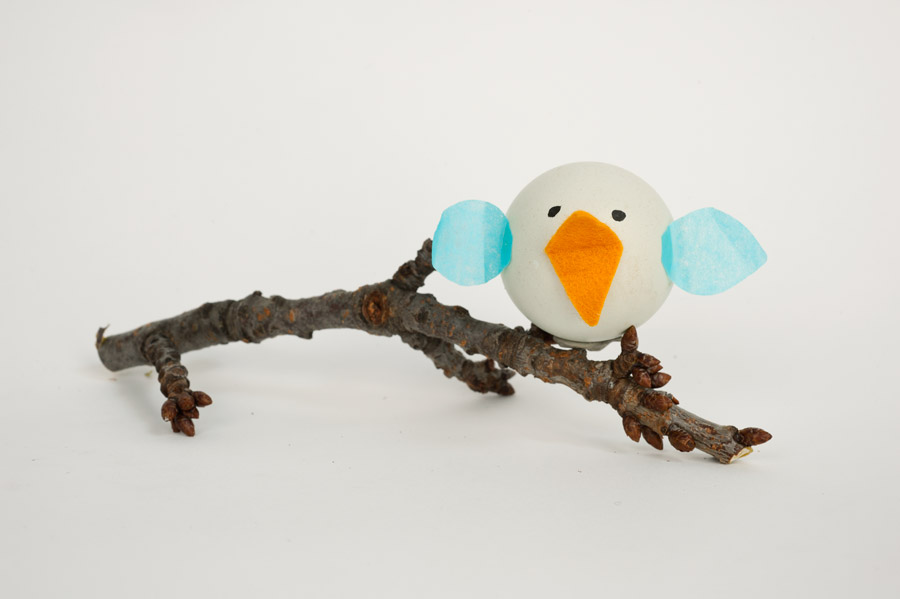 Craft a bird out of a blown out egg