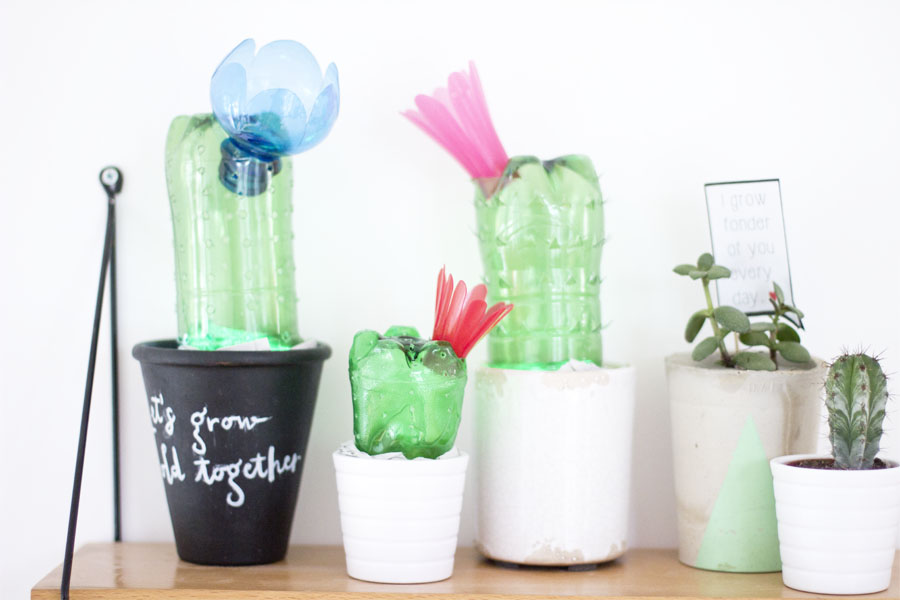 DIY upcycled plastic bottles cactus lights   LOOK WHAT I MADE ...