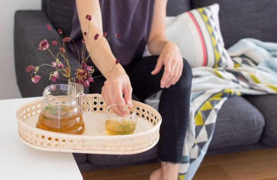 DIY table mounted tray with Wiener Geflecht (rattan)