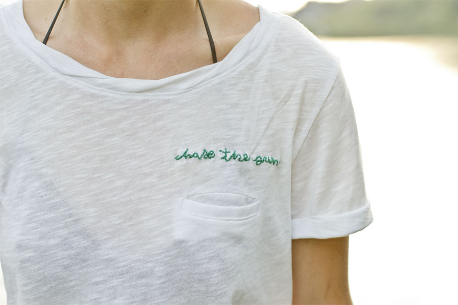 DIY slogan embroidered T-shirt | LOOK WHAT I MADE ...