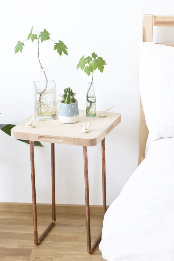 Copper wood side table