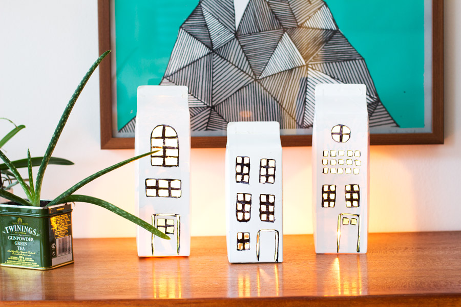 DIY milk cardboard boxes houses light decoration