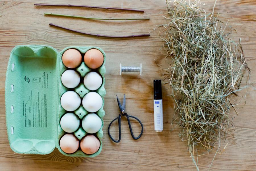 easter hay nest diy supplies