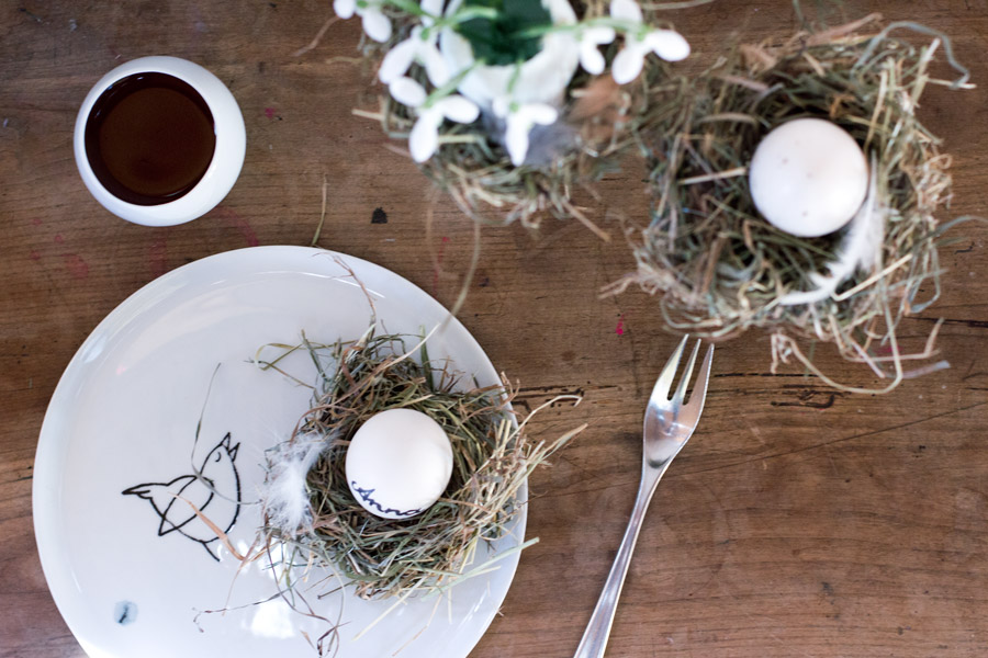 easter hens nest diy out of hay