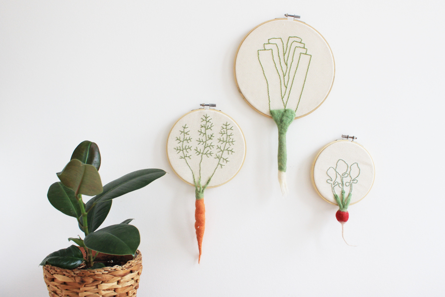 Felt vegetables and embroidery wall decor