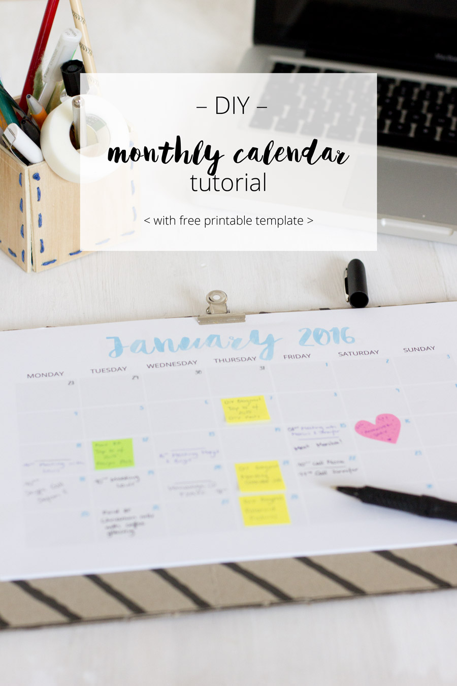 Download a free printable for a colorful monthly calendar 2016 | LOOK WHAT I MADE ...