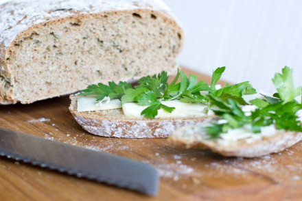 Fresh wild garlic bread – use wild herbs for some seasoning