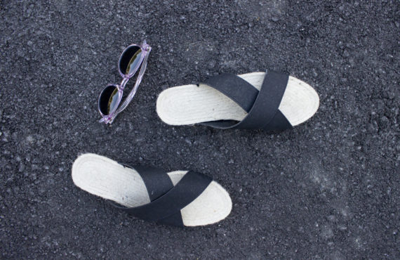 DIY sandals with vegan leather