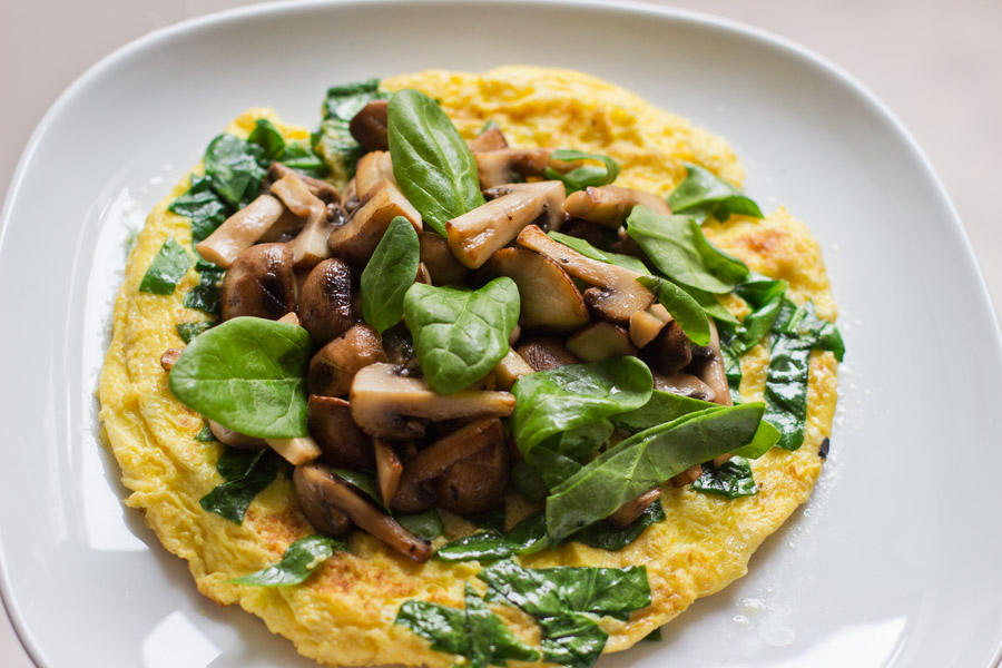 healthy lunch mushroom spinach omelette recipe