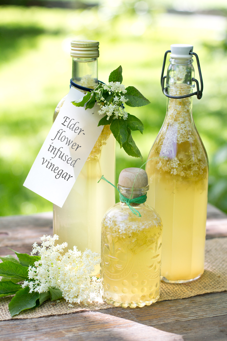 To take your summer salads to the next level, make this elderflower infused vinegar. Done in 10 mins and makes a great present from your kitchen as well!