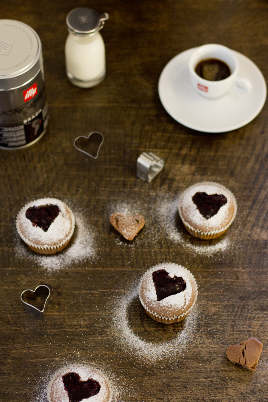 Coffee muffins with cherry filling for Valentine's Day | LOOK WHAT I MADE ...