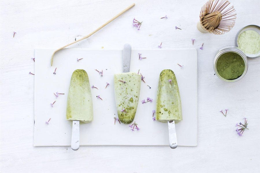 Matcha ice cream popsicles