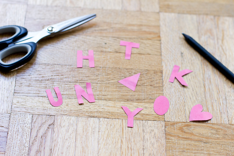 cut out letters for thank you card - full tutorial on the blog