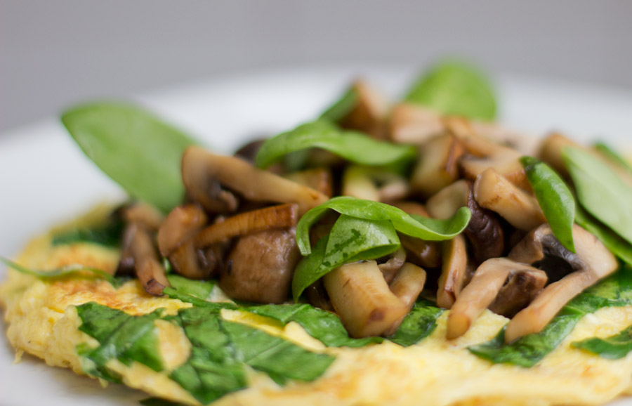 mushroom omelette home office lunch