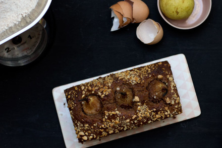 sweet baking with this easy chocolate pear almond cake