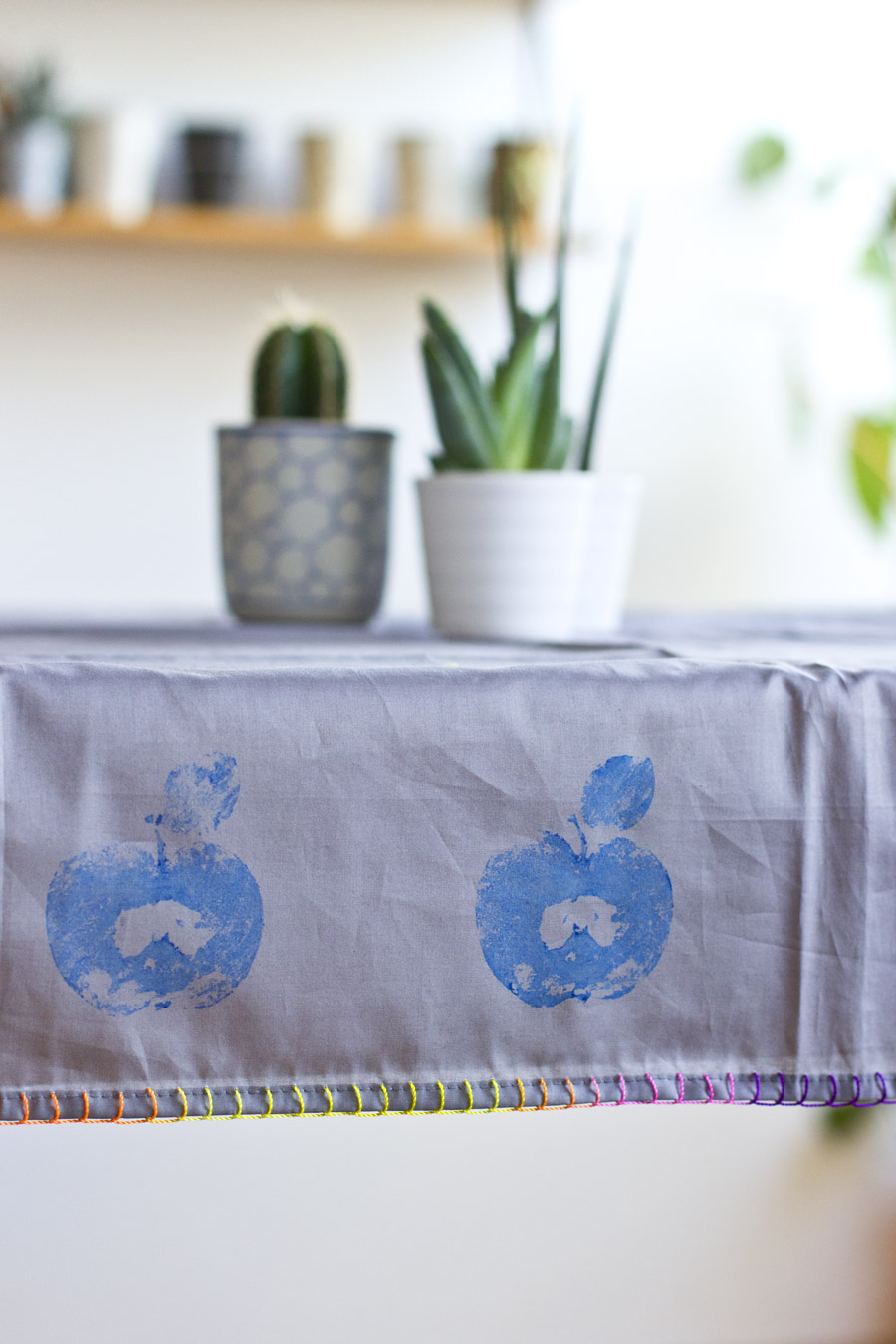 Printing with fruit is fun and easy – and can create something really useful like this fruit printed table cloth.