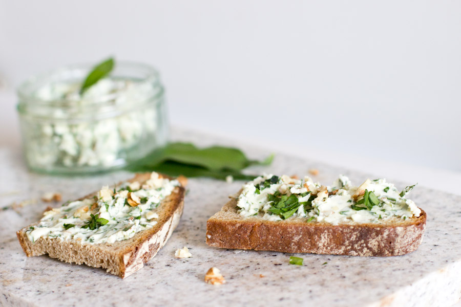 wild garlic cream cheese spread with walnut