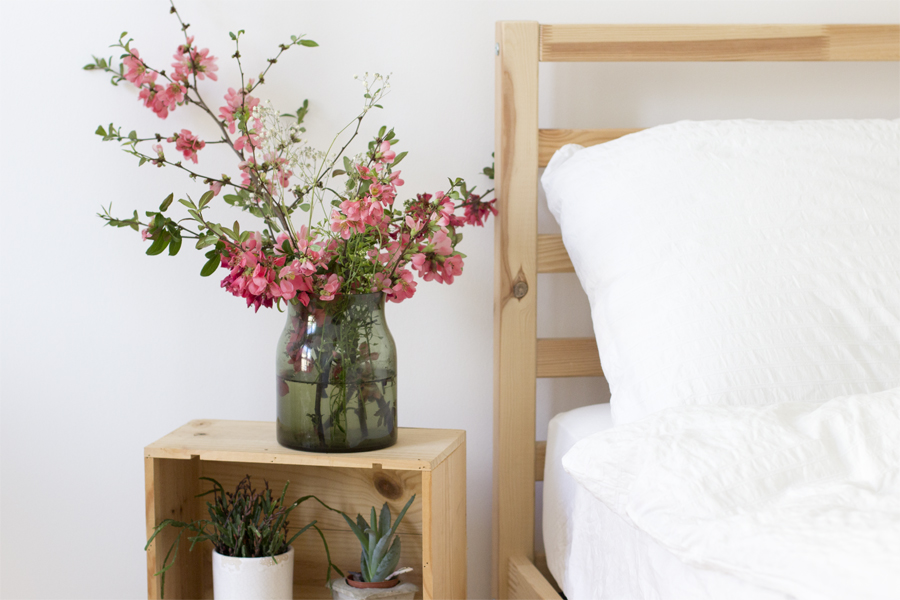 wine-boxes-night-stand-spring-flowers