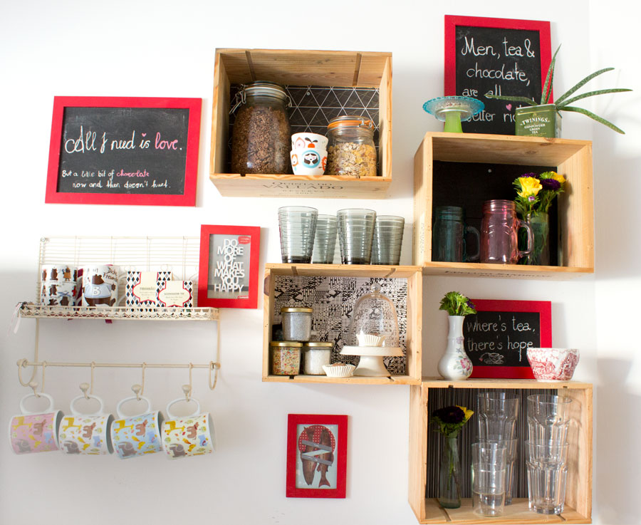 diy wine boxes ktichen shelf organization