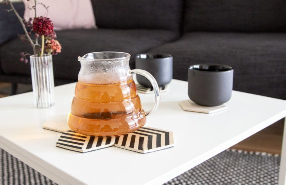 DIY modern hexagon coasters out of wood and cork